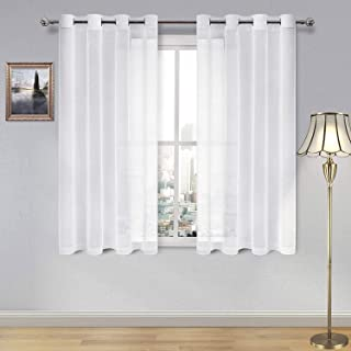 Best DWCN Sheer Curtains Linen Look Grommet Curtain for Bedroom White Window Curtains for Kitchen Room Set of 2 Panels,52 x 54 Inch Long Review