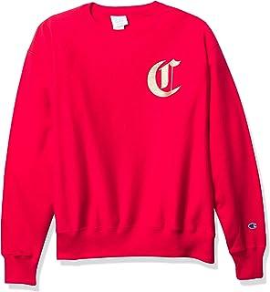 قميص رياضي رجالي من Champion LIFE بنسيج عكسي، قرمزي أحمر اللون مع حروف إنجليزية قديمة، مقاس كبير
