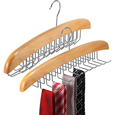 2 Pieces Wooden Tie Belt Rack Adjustable 24 Belt Hooks Belt Hanger Storage Hanging Organizer Accessories for Men Women (Natural Wood Color)