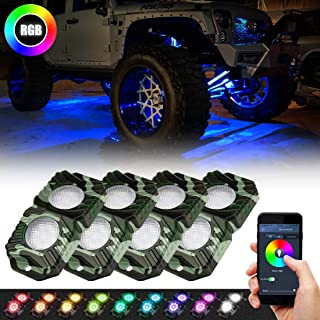 RGB Rock Lights Kit, SUPAREE LED Neon Lights with Bluetooth Remote Controller, Timing Function, Music Mode & Custom Mode Fit Jeep Wrangler UTV ATV Truck 4 Pods