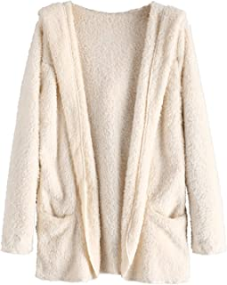 ZAFUL Fluffy Hooded Open Front Sherpa with Pocket Teddy Outwear Winter