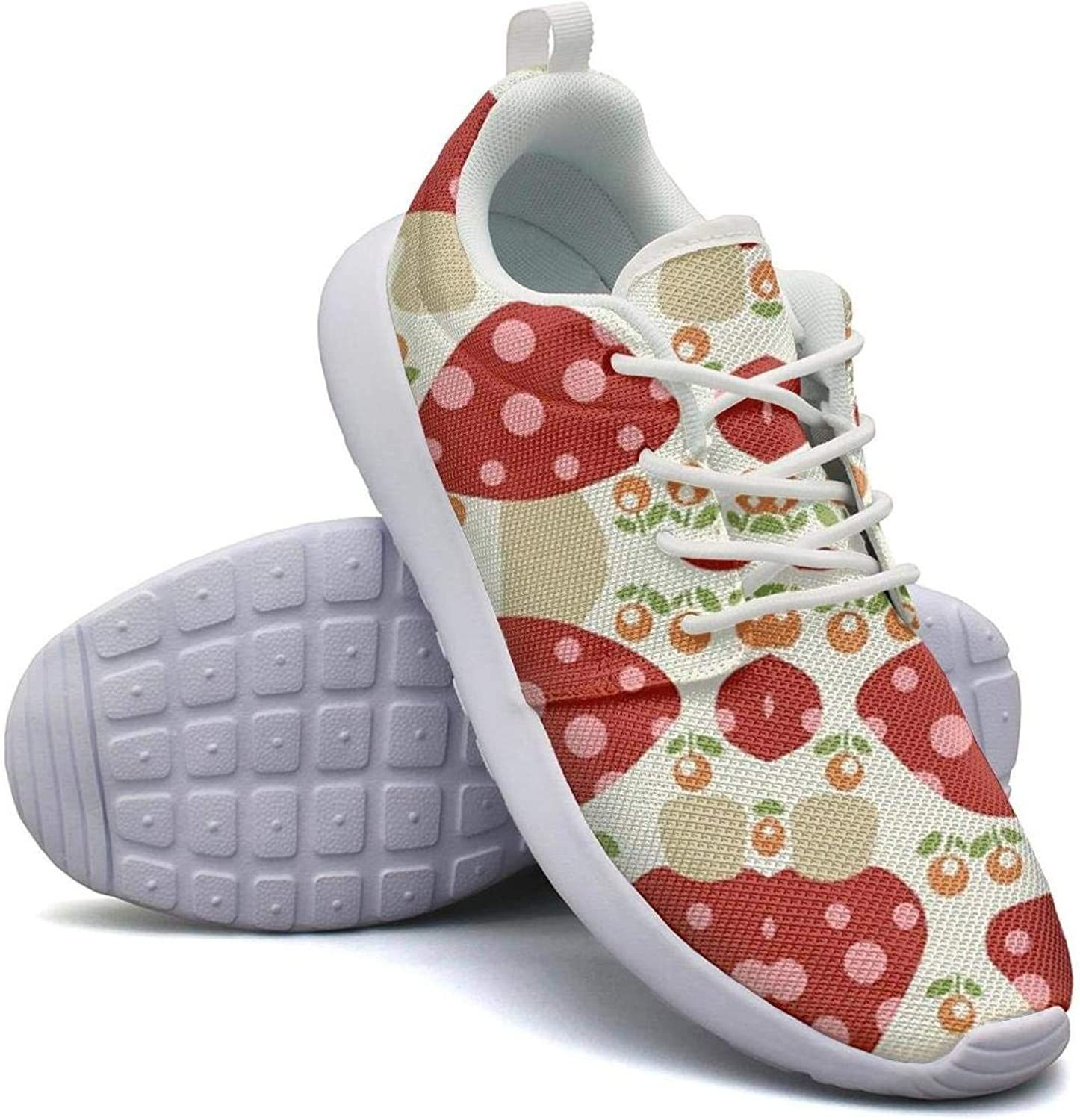 CHALi99 Fashion Womens Lightweight Mesh shoes Argyle Mushrooms Sneakers Walking Lace-Up
