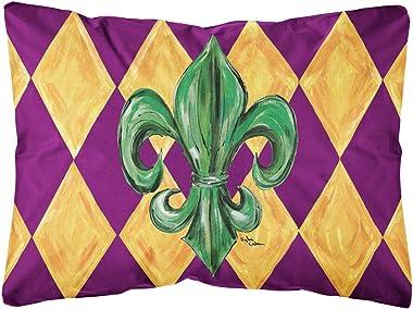 Caroline's Treasures 8133PW1216 Mardi Gras Fleur de lis Purple Green and Gold Canvas Fabric Decorative Pillow, 12H x16W, Mult