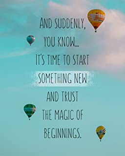 It's Time To Start Something New Wall Decor Art Print on Blue Background - 8x10 Unframed Inspirational Quote Print - Great...