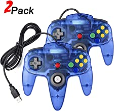 2 Pack N64 USB Controller, miadore USB Retro N64 Gamepad Joystick Raspberry Pi Controller for Windows PC MAC Linux (Clear Blue)