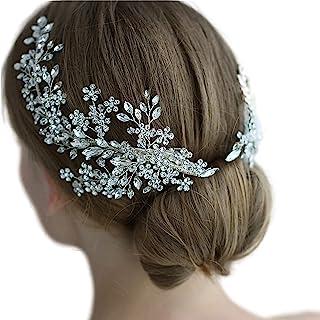 Bride Wedding Headbands, Rhinestone Bridal Bridesmaid Hair Clips Accessories, Flower Girls Headpieces for Women