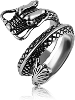 HZMAN Gothic Jewelry Retro Domineering Silver Dragon Fashion Personality Stainless Steel Ring