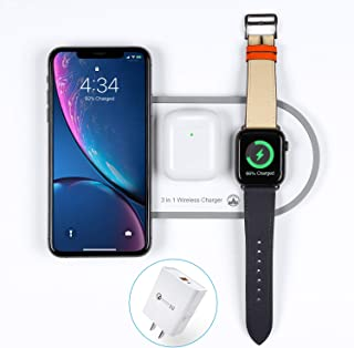 2020 Upgraded Wireless Charger 2 in 1 Dual Wireless Charging Pad Qi Fast Wireless Charge Station for Apple Watch Series 1 2 3 4 5 AirPods Pro 2 for iPhonePro 11 8 Plus X Xr Xs Max with QC 3.0 Adapter