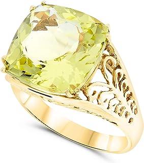 10k Yellow Gold 15x15 Cushion Large Yellow Quartz Gemstone Filigree Ring For Women