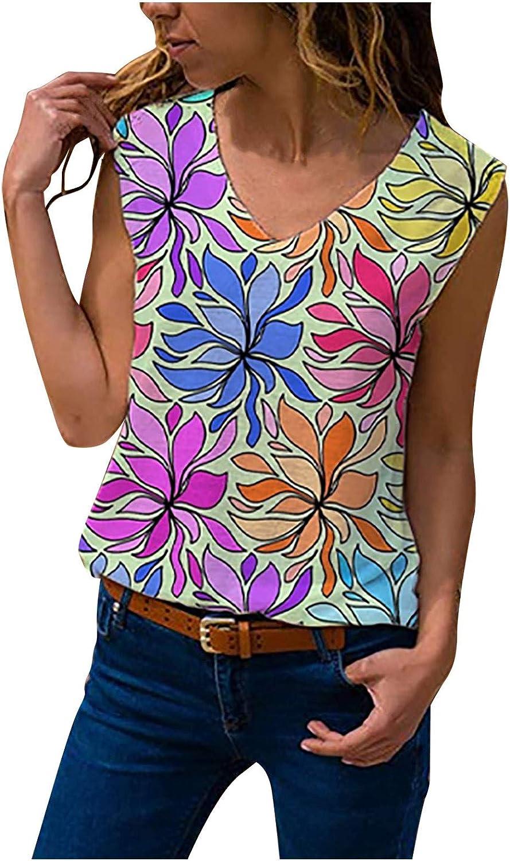 BEUU Womens V Neck Floral Sleeveless Tops Casual Loose Tank Tops Boho Fashion Summer Printed Tunic Blouse Shirts