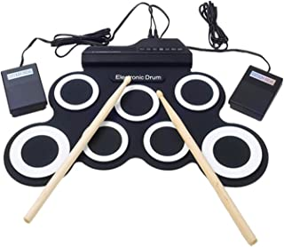 SODIAL Electronic Drum Set /7 Electronic Drum /7 Tone /8 Demo Song/ 7 Drum Pads Metronome Function /External Instrument Input Available Pedal with Stick Practice / Beginner