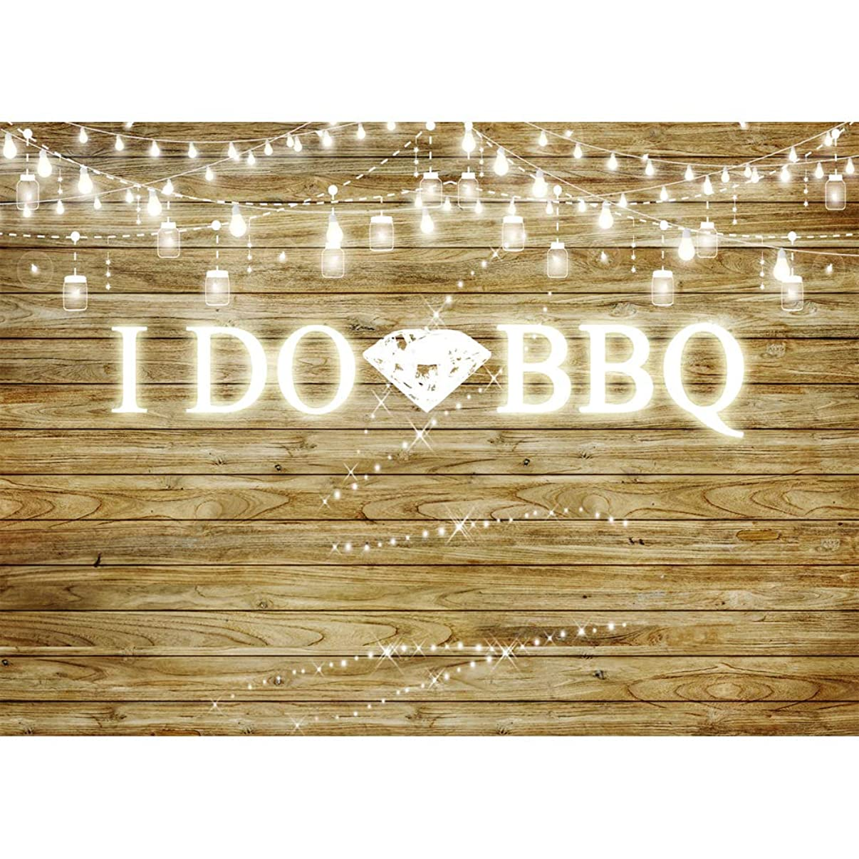I Do BBQ Backdrops for Photography 7x5 Vinyl Background Rustic Wooden Floor Lighting Diamond Rings for Wedding Photocall Birthday Party Décor Photography Background Banner