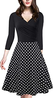 Womens Vintage Dress Cross V Neck 3/4 Sleeve Patchwork Floral Formal A-Line Midi Dresses with Side Zipper (9 Patterns)