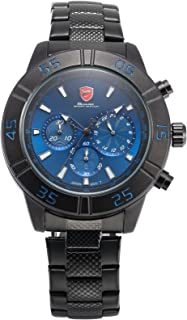 Sandbar Shark Men's SH301 Quartz 24-Hour Display Chronograph Blue Dial Black Steel Wrist Watch