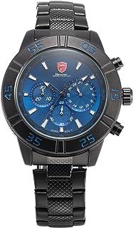 Sandbar Shark Men's SH301 Quartz 24-Hour Display Chronograph Blue Dial Black Steel Wrist Watch