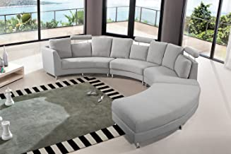 Velago Rossini Light Grey Modern Design Circular Sectional Sofa   Half Round Fabric Upholstered Curved Couch,