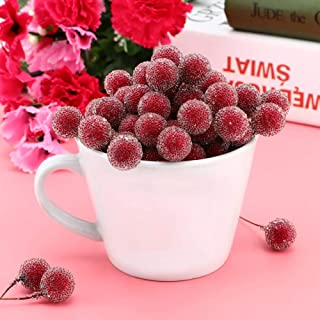 Mumusuki Artificial Berry Flower Mini Frosted Fruit Holly Berries Home Wedding Party Decor Christmas (100 Piezas)