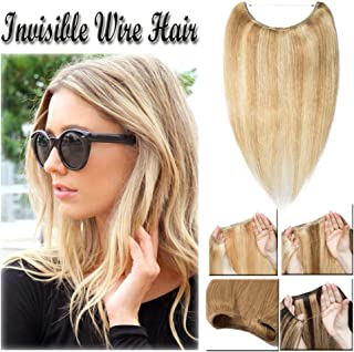 16-22inch Hidden Wire Hair Extensions Highlighted Human Hair Crown in Hairpiece Secret Translucent Fish Line No Clip Miracle Headband - 18