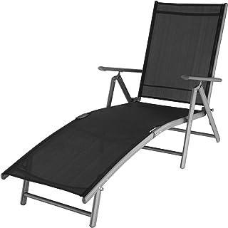 comprar comparacion TecTake 800713 Tumbona Plegable, Respaldo Reclinable, Impermeable, Aluminio, Ideal Jardín Terraza Camping (Gris Oscuro   N...