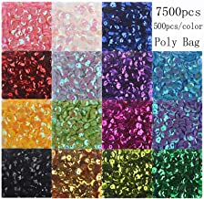 Cup Sequins Bagged Iridescent Spangles Craft Mixed 15 Colors 6mm 7500Pcs Rainbow Sequin Bulk Assorted for DIY Arts Crafts ...
