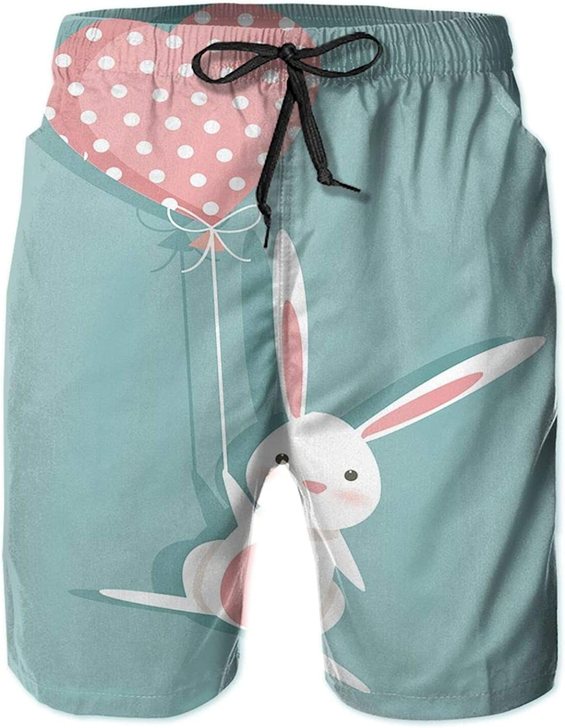 Sweet Bunny Holding A Heart Shaped Balloon with Dots Romantic Rabbit in Love Swimming Trunks for Men Beach Shorts Casual Style,L