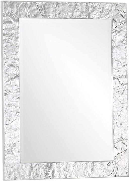 Specchio da parete con cornice moderna in legno finitura foglia argento fatto a mano 65x85. mo.wa B07BSQ7QJD