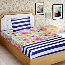 Home Candy Colourful Flowers and Stripes 120 TC Microfibre Single Bedsheet with 1 Pillow Cover - Floral, Multicolour