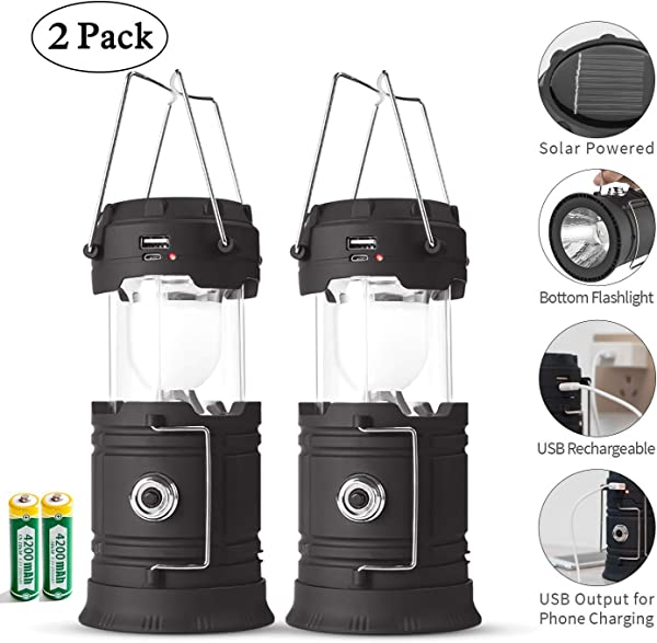 Rechargeable LED Camping Lantern USB COB Lantern Flashlight 2 Power Supply Modes Survival Kit For Emergency Hurricane Power Outage 2 Pack