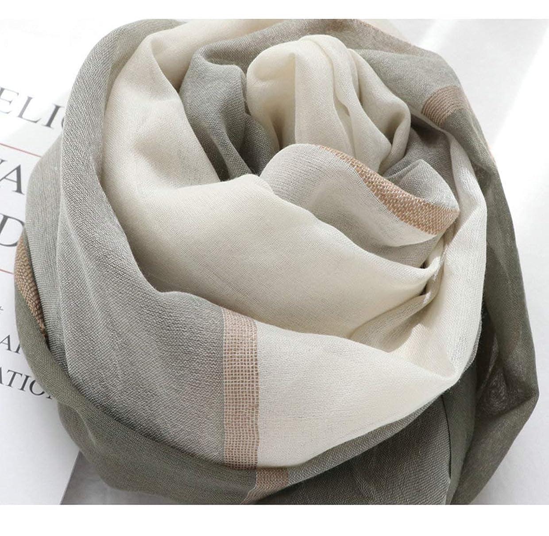 侮辱イヤホンエンジニアGUQQRZCT タイハン秋と冬の の綿とリネンのスカーフ長いスカーフに一致する野生のエッジカラーの女性韓国語バージョン (Color : Beige white gray, Size : One size)