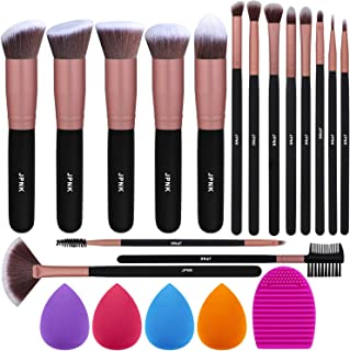 JPNK Rose Gold Makeup Brush Set, 16 Makeup Brushes & 4 Blender Sponge & 1 Brush Cleaner Premium Synthetic Foundation Powder Blush Concealer Eye Shadow Makeup Brush Kit