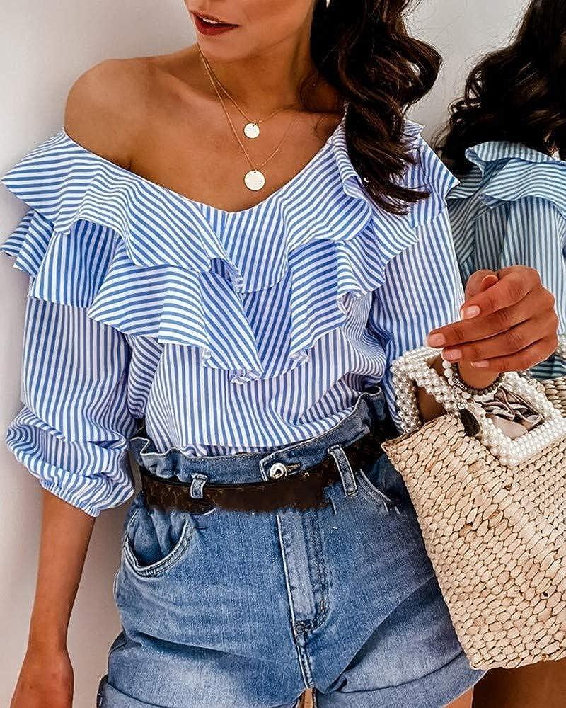 Blusa Mujer Top de Verano con Medias Mangas Volantes Cuello en V Rayas Blanco y Azul Casual Elegante