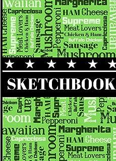 Sketchbook: Novelty Newspaper Style Pizza Favorites Art Gift - Sketchbook for Boys and Girls