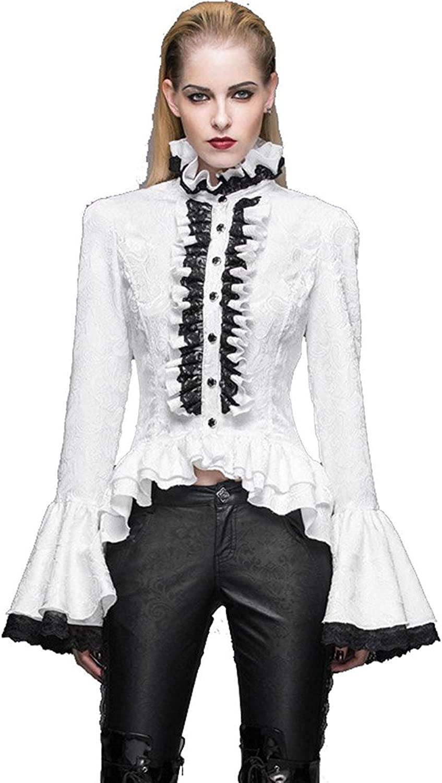 Devil Fashion Gothic Vintage Women's Victorian Shirts Blouse Stand Collar Steampunk Lace Lolita Blouse