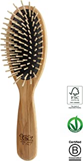 Tek Big Oval Hair Brush in ash Wood with Regular pins - Handmade in Italy