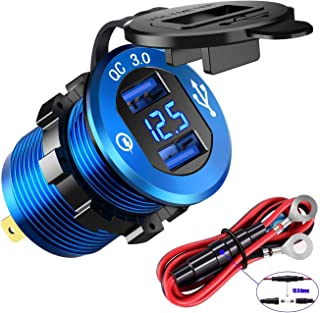 ROLOZ USB Dual Quick Charger Aluminum Waterproof with LED Digital Screen for Golf carts, UTV's, Marine, Boats, Motorcycles, Trucks, and More.