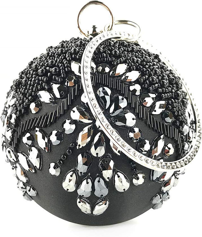 FarbeYan Frauen Frauen Frauen Clutch Bag Lady Clutch Abendtasche Bling Strass Perlen Runde Handtasche Hochzeit Party Geldbörse Geschenk Klassische Brautbeutel für Hochzeit, Party (Farbe   Schwarz) B07MN1PV2X  Schön cb048d