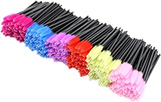 Rotus Disposable Eyelash Mascara Brushes Wands Makeup Applicator Kits, Black Handle, 6 Colors,300 Pieces, Multicolor