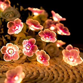 Jcfyoo Flower String Lights, Cherry Blossom Lights 10FT 30 LED Battery Operated Fairy String Lights for Bedroom Party Desk...