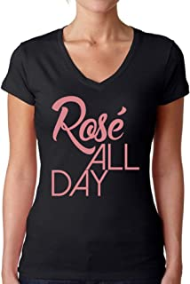 Awkward Styles Women's Rose All Day Relaxed Drinking V-Neck T Shirt Tops