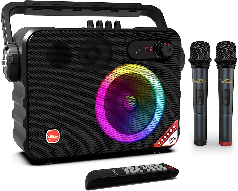 VeGue Máquina de Karaoke Portátil con Bluetooth para Adultos y Niños, Altavoz de Karaoke Inalámbrico con 2 Micrófonos Inalámbricos, Luces LED, Ideal para Fiestas, Clases, Iglesias, Exteriores, 140 W