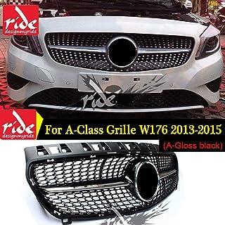 DDDXF Parrilla Delantera GT GTR Grill Adecuado para Mercedes A Clase W176 A45 A180 A200 A260 2016-2018 Sin Emblema Negro Negro