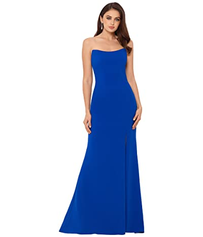 Betsy & Adam Long Strapless Crepe Gown