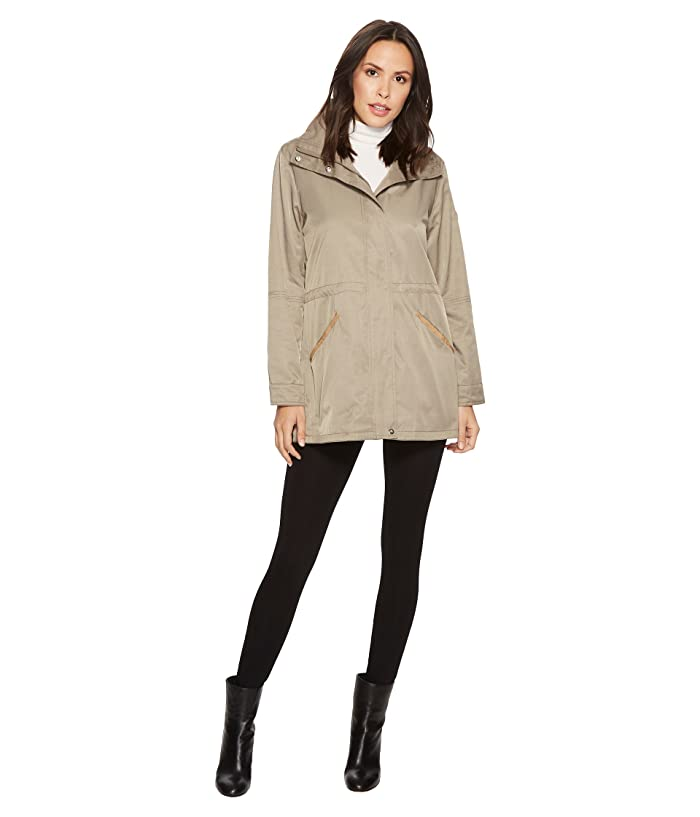 LAUREN Ralph Lauren Stand Collar Anorak with Faux Leather Details (Light Moss) Women