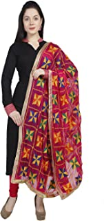 Women's Pink & Multicoloured Phulkari Embroidery Chiffon Dupatta