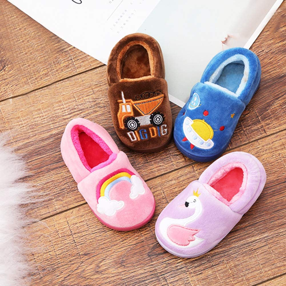 YOHA Boys Girls Unicorn Cartoon Cozy Warm Home Slippers Anti-Slip Toddler Slippers Kids Slip on Fuzzy Bedroom Slippers