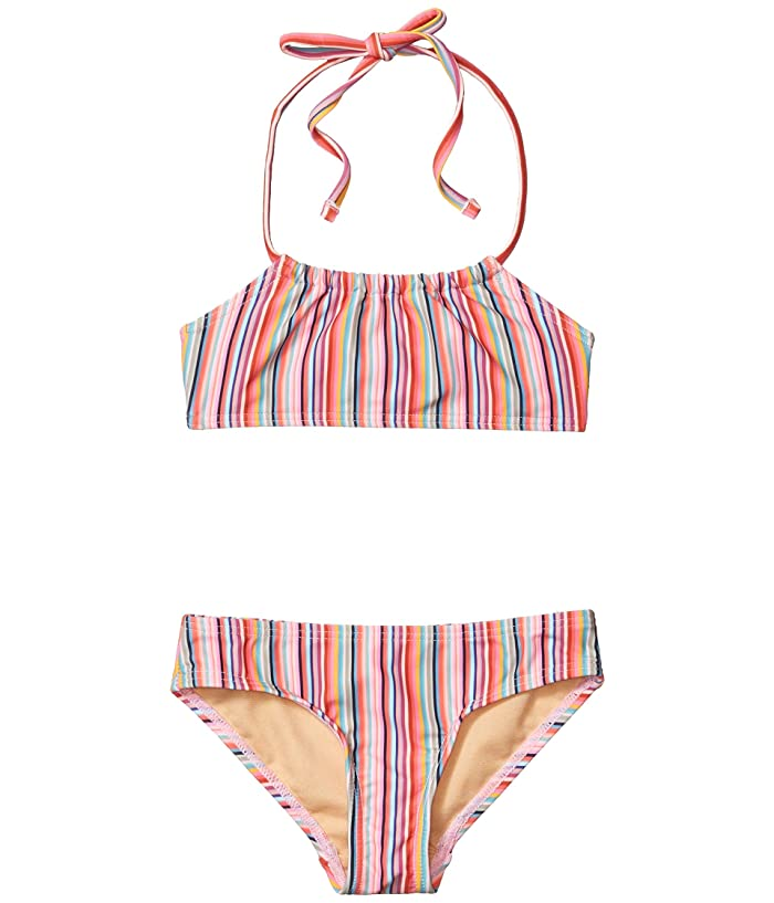 Toobydoo  Retro Rainbow Stripes Bandeau Bikini (Toddler/Little Kids/Big Kids) (Pink) Girls Swimwear Sets