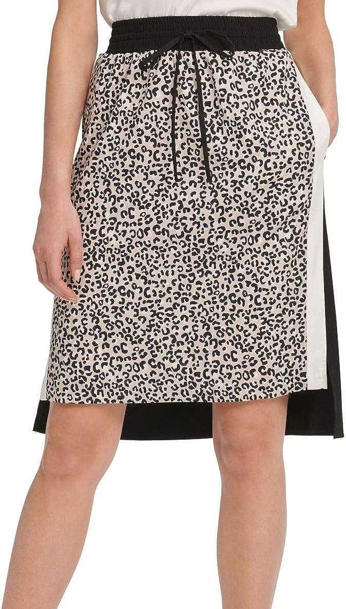 DKNY Womens Printed Two Tone A-Line Skirt Black