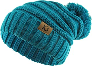Women's Winter Warm Thick Oversize Cable Knitted Beaine Hat with Pom Pom