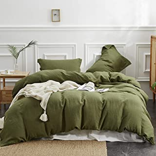 Simple&Opulence 100% Linen Duvet Cover Set with Washed-French Flax-3 Pieces Solid Color Basic Style Bedding Set-Breathable...