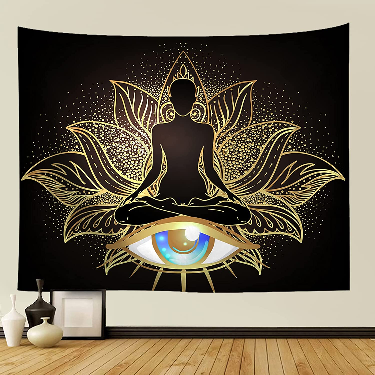 Yeacun Yoga Meditation Tapestry Wall Hanging, Golden Spiritual Tapestry and Evil Eye Wall Decor, Colorful Mandala Lotus Evil Eye Tapestry Hamsa Hand Tapestries Decoration for Studio Room (80L x 60W inches)